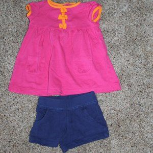 Carter's 9M Pink/Orange Top with Navy Shorts